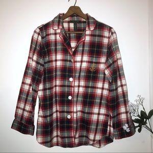 LAUREN RALPH LAUREN plaid flannel sleep shirt sz M